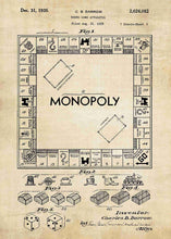 monopoly board patent print, monopoly poste rin the style vintage