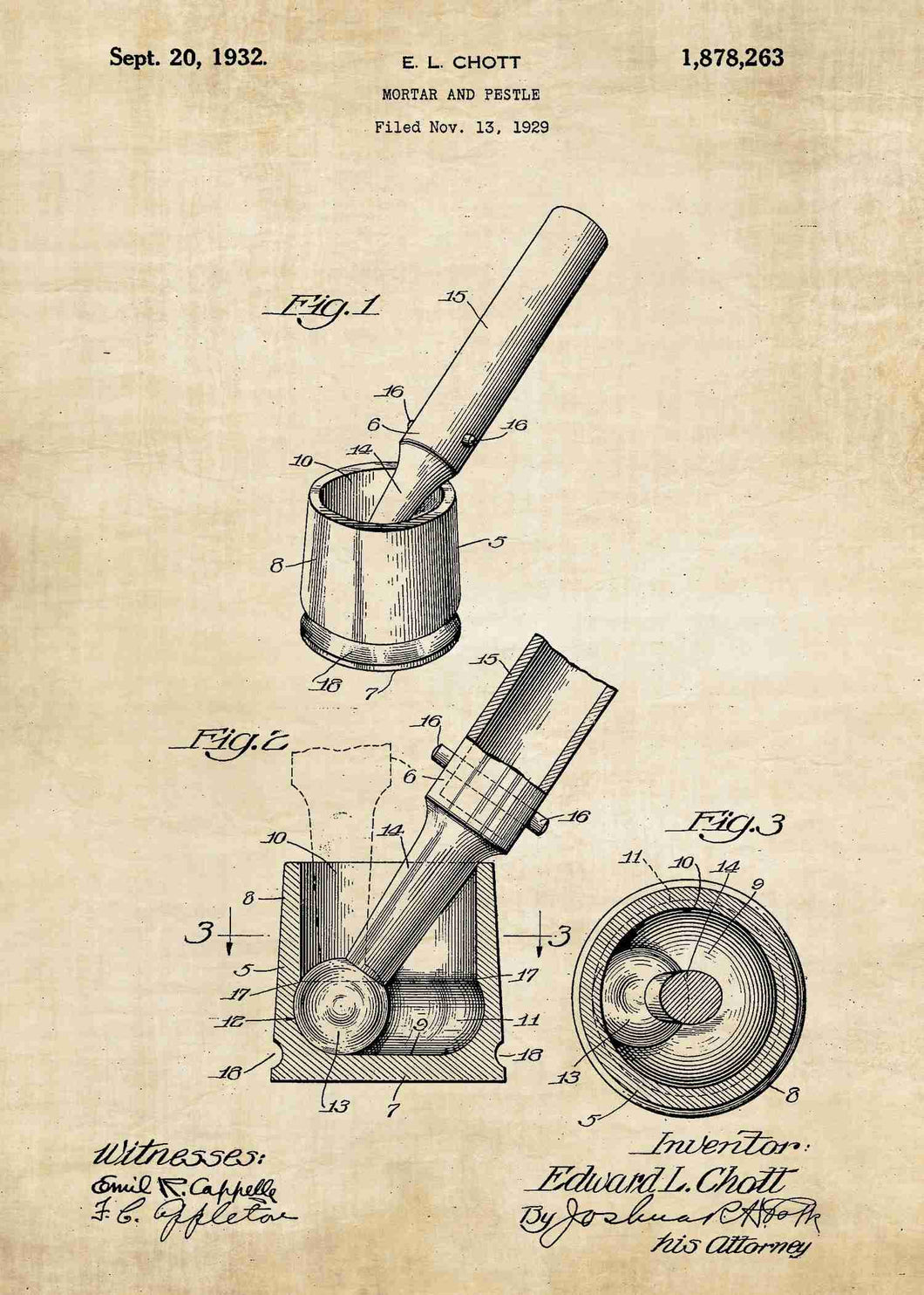 mortar and pestle patent print, mortar and pestle kitchen poster in the style vintage
