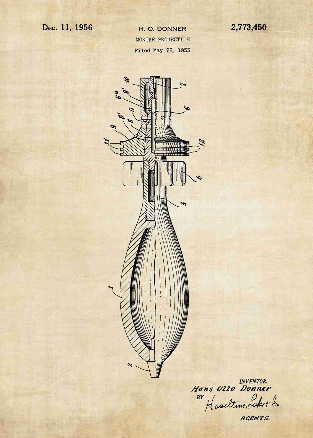 Mortar Shell patent print, mortar poster in the style vintage