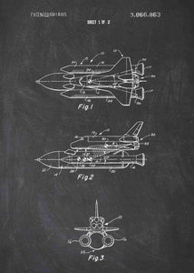 nasa space shuttle patent print, nasa space shuttle rocket poster in the style chalkboard