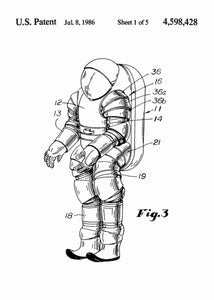 nasa space suit patent print, nasa space suit poster in the style white