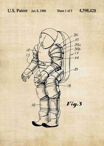 nasa space suit patent print, nasa space suit poster in the style vintage