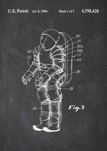 nasa space suit patent print, nasa space suit poster in the style chalkboard