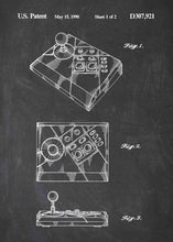 NES Advantage Joystick patent print, NES Advantage Gaming Joystick in the style chalkboard