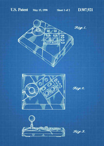 NES Advantage Joystick patent print, NES Advantage Gaming Joystick in the style blueprint