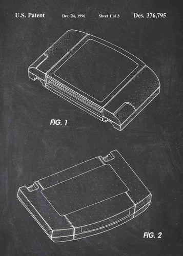 Nintendo 64 Game Cartridge ROM patent print, Nintendo 64 Game Cartridge poster in the style chalkboard