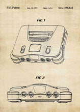 Nintendo 64 patent print, n64, nintendo 64 console poster in the style antique