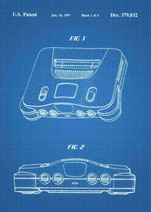Nintendo 64 patent print, n64, nintendo 64 console poster in the style blueprint