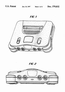 Nintendo 64 patent print, n64, nintendo 64 console poster in the style white