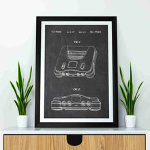 Nintendo 64 patent print, n64, nintendo 64 console poster in the style chalkboard mocked up in a frame