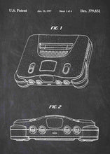 Nintendo 64 patent print, n64, nintendo 64 console poster in the style chalkboard