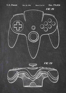 Nintendo 64 controller patent print, nintendo 64 poster shown in the style chalkboard