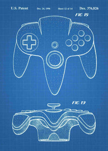 Nintendo 64 controller patent print, nintendo 64 poster shown in the style blueprint