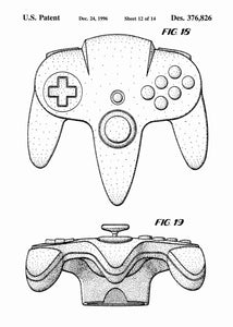 Nintendo 64 controller patent print, nintendo 64 poster shown in the style white