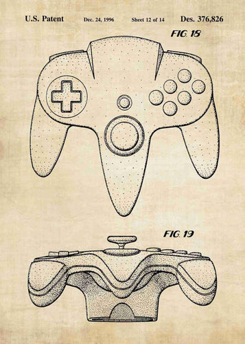Nintendo 64 controller patent print, nintendo 64 poster shown in the style vintage