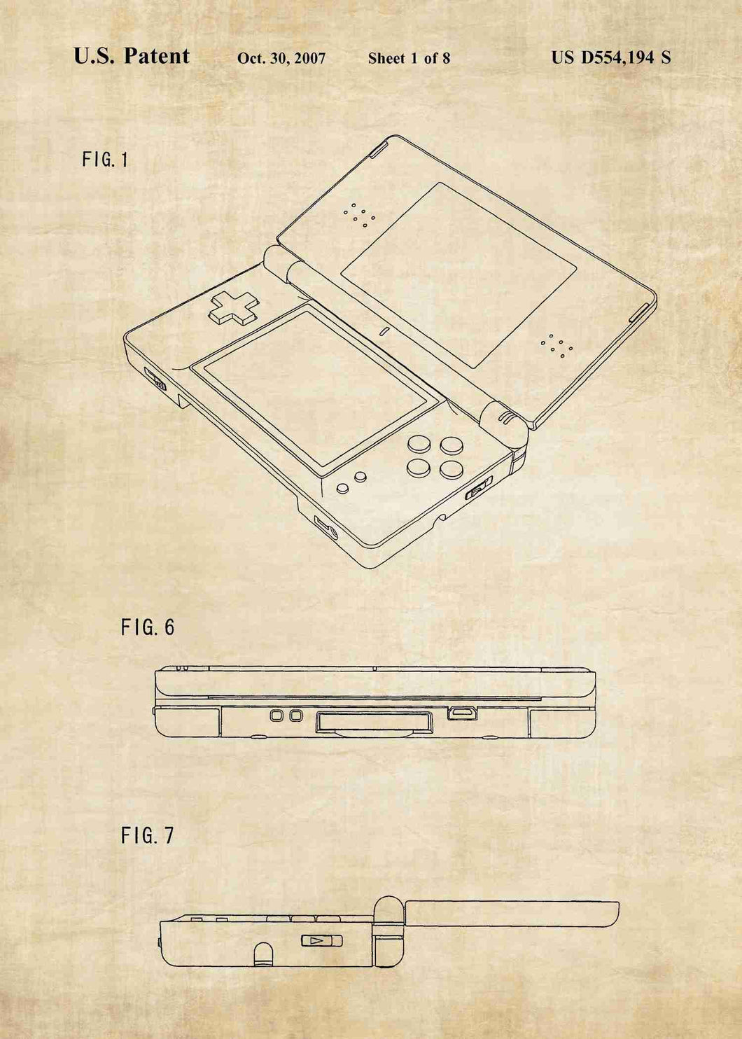 nintendo DS patent print, nintendo poste rin the style vintage