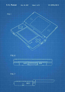 nintendo DS patent print, nintendo poste rin the style blueprint