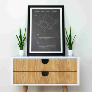 nintendo DS patent print, nintendo poste rin the style chalkboard mocked up in a frame