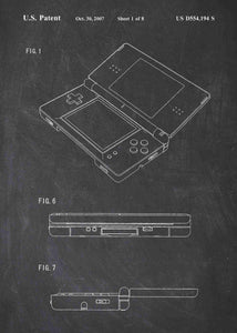 nintendo DS patent print, nintendo poste rin the style chalkboard