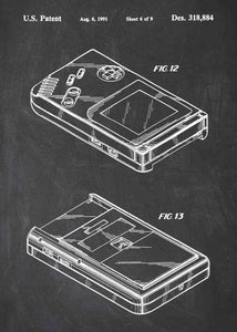 nintendo gameboy patent print, gameboy poster in the style chalkboard