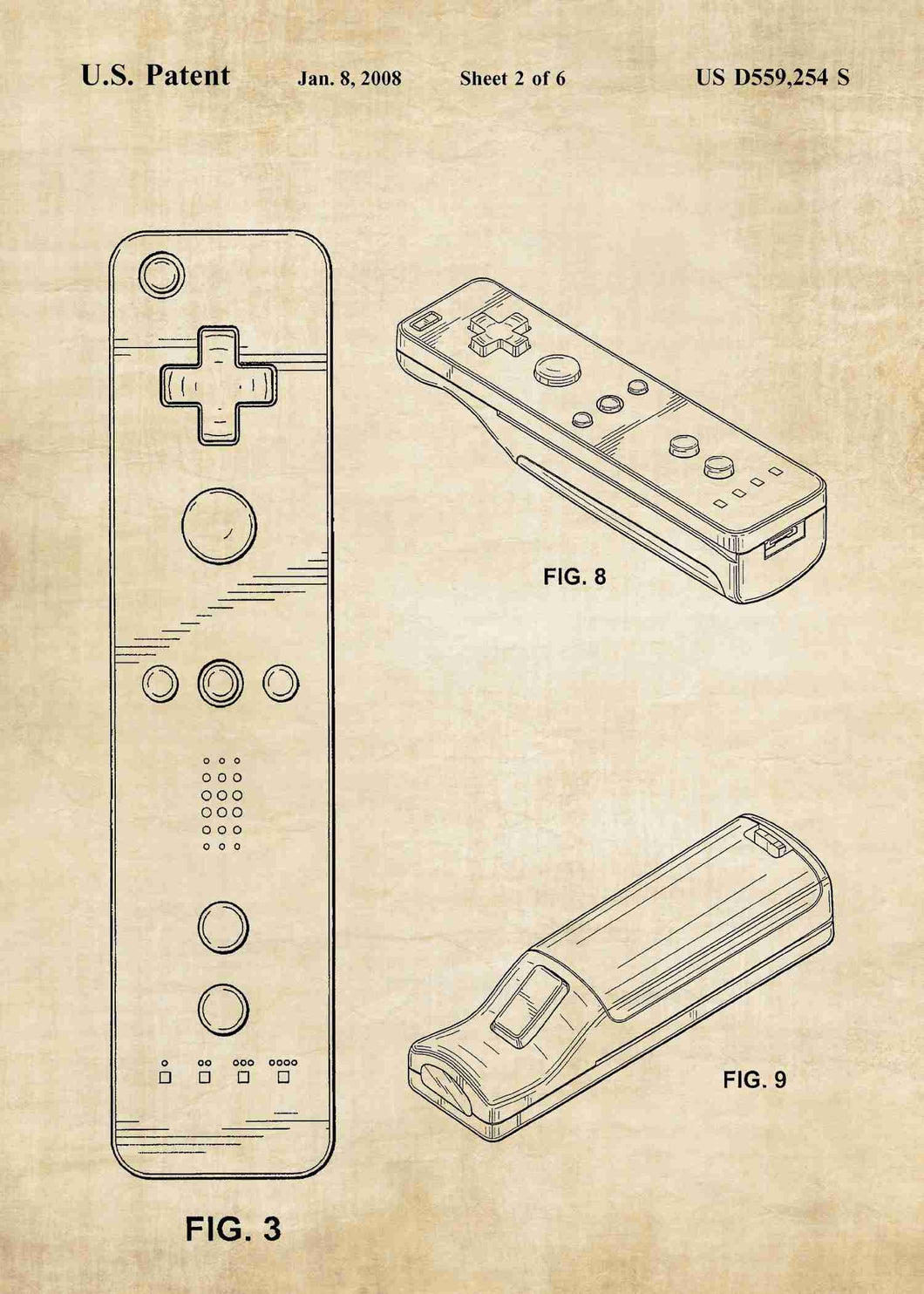 nintendo wii controller patent print, nintendo wii gaming poster in the style vintage