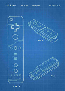 nintendo wii controller patent print, nintendo wii gaming poster in the style blueprint