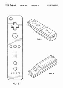 nintendo wii controller patent print, nintendo wii gaming poster in the style white