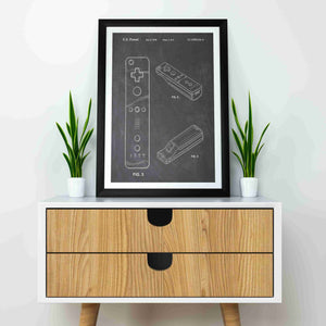 nintendo wii controller patent print, nintendo wii gaming poster in the style chalkboard show mocked up in a frame