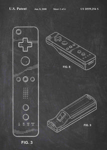 nintendo wii controller patent print, nintendo wii gaming poster in the style chalkboard