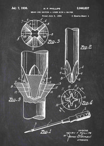 phillips head screwdriver patent print, screwdriver tool poster in the style chalkboard