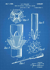 phillips head screwdriver patent print, screwdriver tool poster in the style blueprint