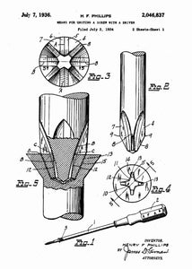 phillips head screwdriver patent print, screwdriver tool poster in the style white