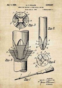 phillips head screwdriver patent print, screwdriver tool poster in the style vintage