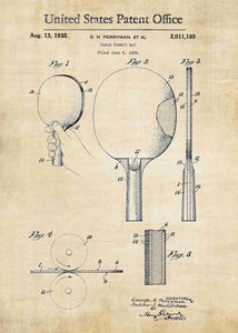 ping pong paddles patent print, ping pong poster in the style vintage