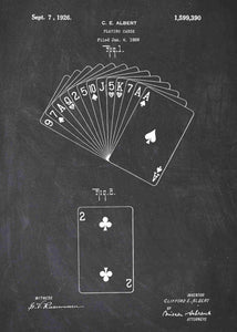 playing cards patent print, playing cards poster shown in the style chalkboard