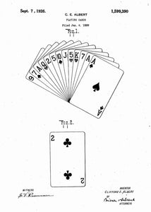 playing cards patent print, playing cards poster shown in the style white