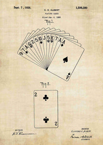 playing cards patent print, playing cards poster shown in the style vintage