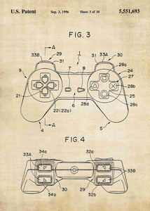 playstation 1 controller patent print, playstation 1 retro gaming poster in the style vintage