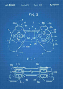 playstation 1 controller patent print, playstation 1 retro gaming poster in the style blueprint