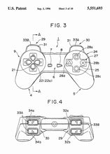 playstation 1 controller patent print, playstation 1 retro gaming poster in the style white