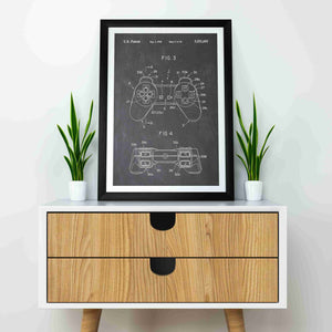 playstation 1 controller patent print, playstation 1 retro gaming poster in the style vintage mocked up in a frame