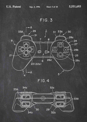 playstation 1 controller patent print, playstation 1 retro gaming poster in the style chalkboard