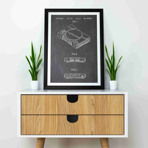 playstation one retro gaming console patent print, ps1 retro gaming poster in the style chalkboard mocked up in a frame