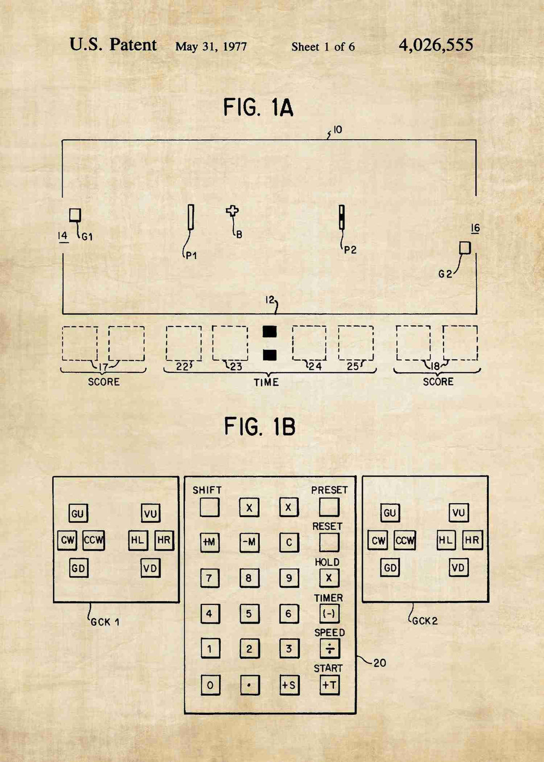 pong console patent print, pong retro gaming poste rin the style vintage