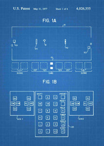 pong console patent print, pong retro gaming poste rin the style blueprint