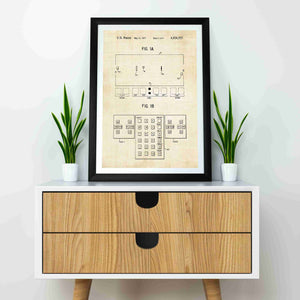 pong console patent print, pong retro gaming poste rin the style vintage mocked up in a frame