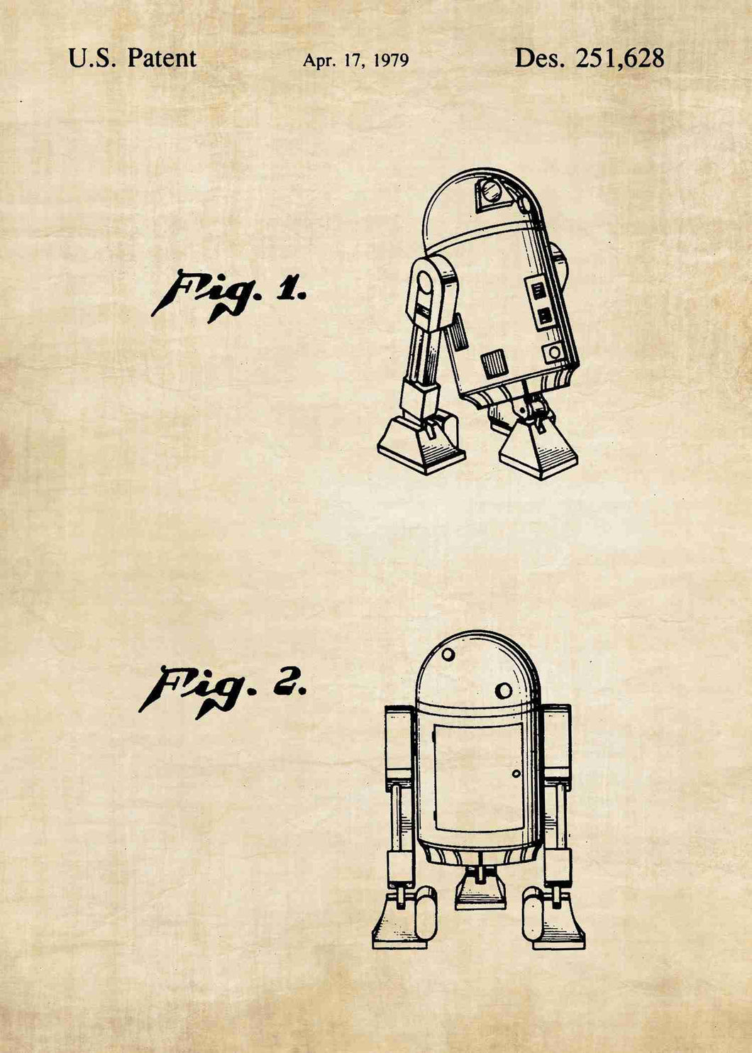 Original R2-D2 patent from the first trilogy of the star wars series. This star wars poster is in the style vintage