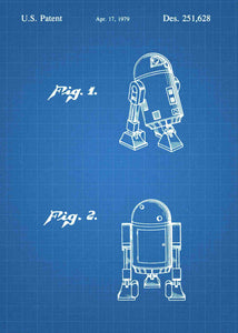 Original R2-D2 patent from the first trilogy of the star wars series. This star wars poster is in the style blueprint
