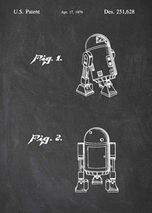 Original R2-D2 patent from the first trilogy of the star wars series. This star wars poster is in the style chalkboard