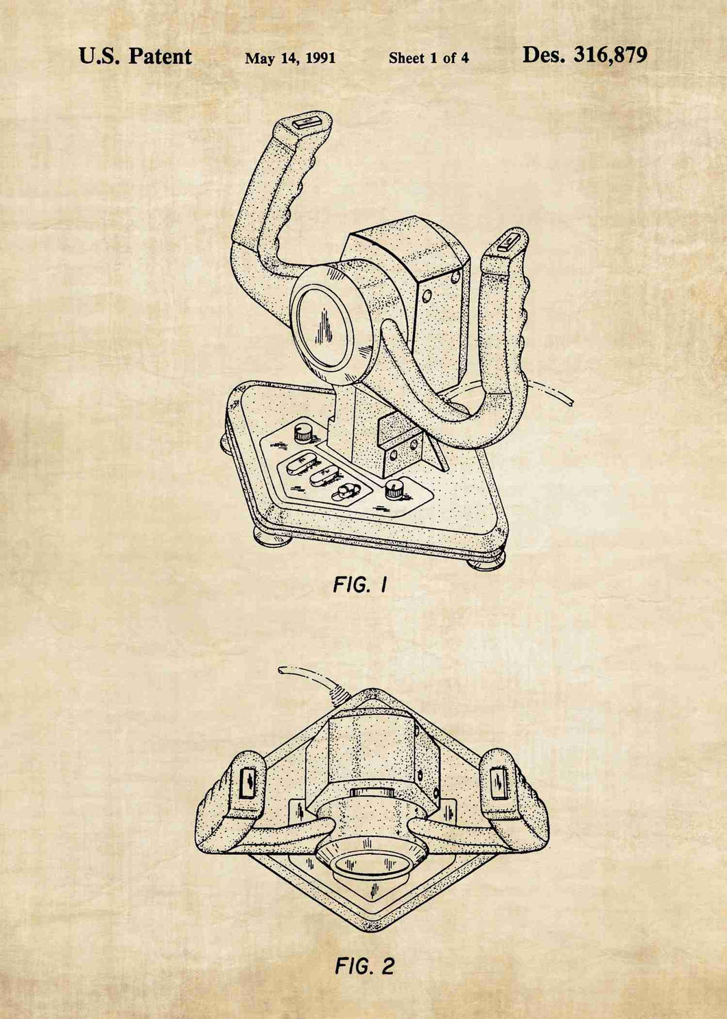 Racing Game Wheel Joystick patent print, Racing Game Wheel Joystick poster in the style antique